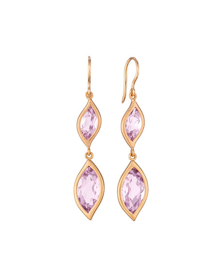 18K Rose Gold & Rose de France Amethyst Leaf Double-Drop Earrings
