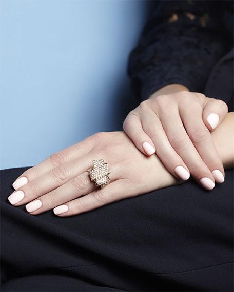 18K Rose Gold & Pavé Diamond Knot Ring, Size 7