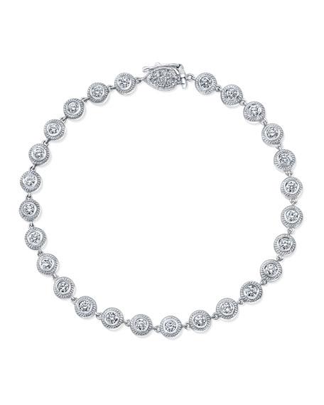 18K White Gold Station Bracelet with Diamond Bezels