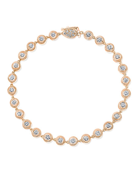 18K Rose Gold Tennis Bracelet with Diamond Bezels