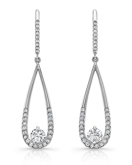 Diamond Illusion Teardrop Earrings in 18K White Gold