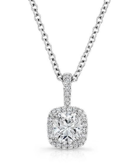 Cushion-Cut Diamond Pendant Necklace in 18K White Gold