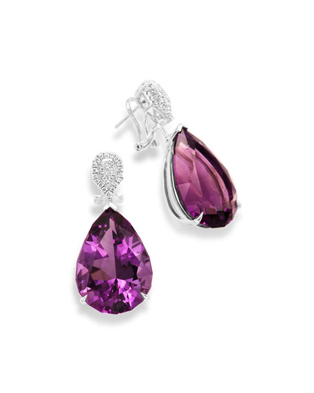 18K White Gold & Amethyst Teardrop Earrings with Diamonds