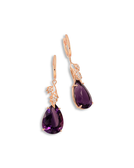 18K Rose Gold & Amethyst Leaf Earrings with Diamonds