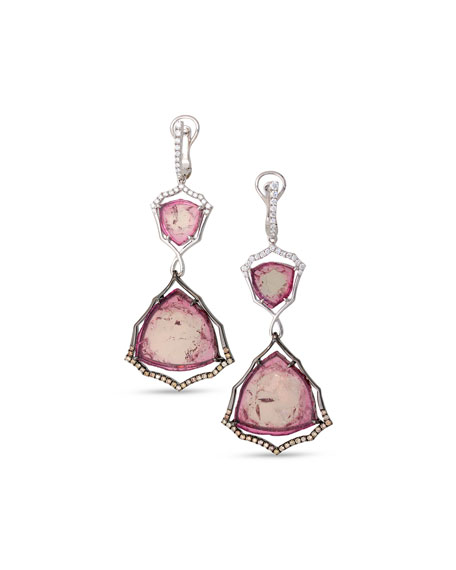 Two-Tone 18K Gold & Pink Tourmaline Earrings with Brown & White Diamonds
