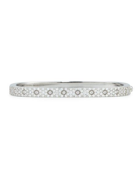 18k White Gold Pois Moi One-Row Pave Diamond Bangle