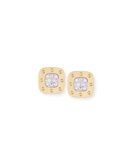 Pois Moi 18k Square Diamond Stud Earrings