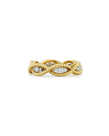 Barocco 18k Diamond Band Ring, Size 6.5