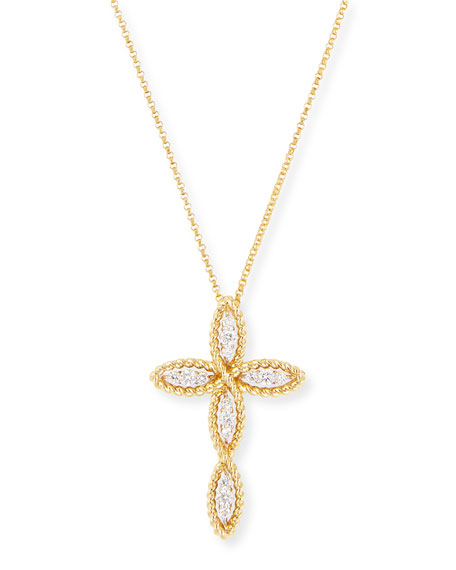 Barocco 18k Gold Diamond Cross Necklace