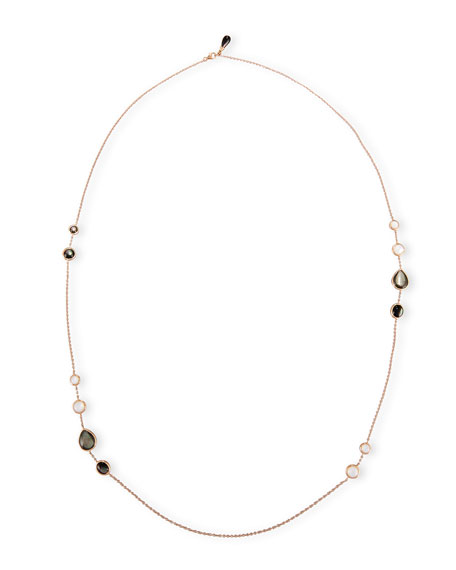 Black & White Mother-of-Pearl Station Necklace in 18K Rose Gold