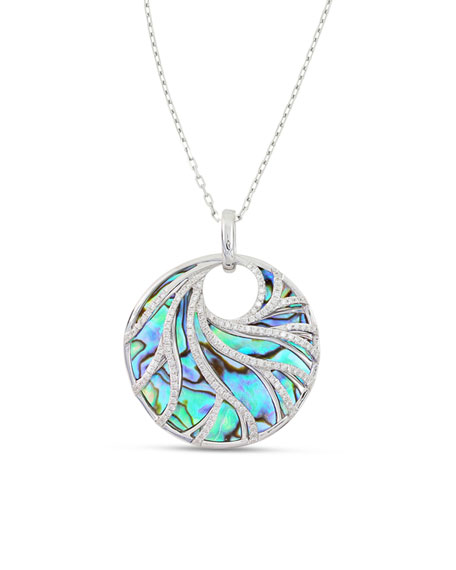 Venus 18K White Gold Swirled Abalone Pendant Necklace with Diamonds