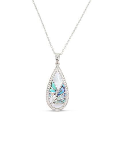 Venus 18K White Gold & Abalone Teardrop Pendant Necklace with Diamonds