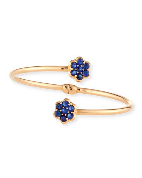18K Rose Gold & Blue Sapphire Floral Bypass Bracelet