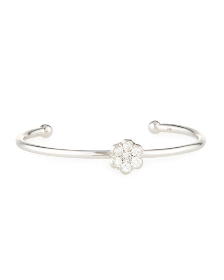 18K White Gold & Diamond Floral Bracelet