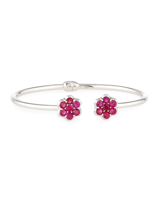 Bayco 18K Black Gold & Ruby Floral Bracelet RRkh1n