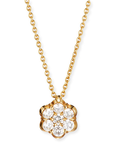 18K Gold & Diamond Floral Pendant Necklace
