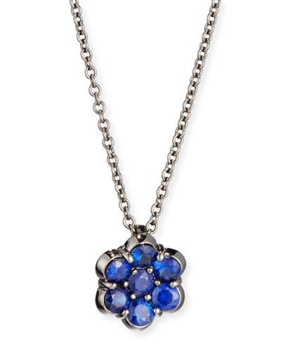 18K Black Gold & Blue Sapphire Floral Pendant Necklace