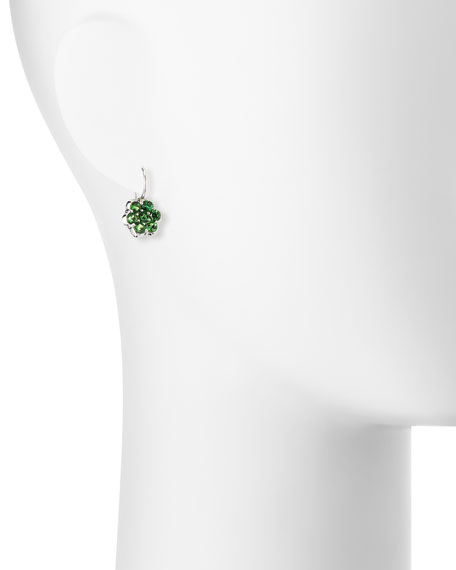 Platinum & Tsavorite Floral Drop Earrings
