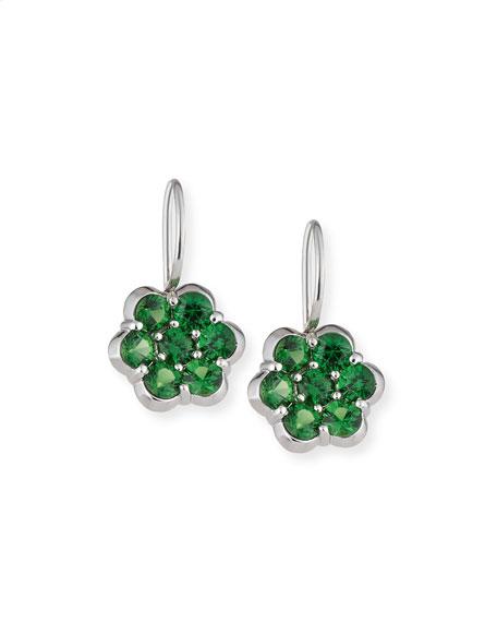 Platinum & Tsavorite Floral Drop Earrings