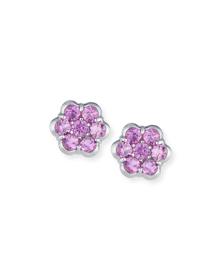 Platinum & Pink Sapphire Floral Stud Earrings