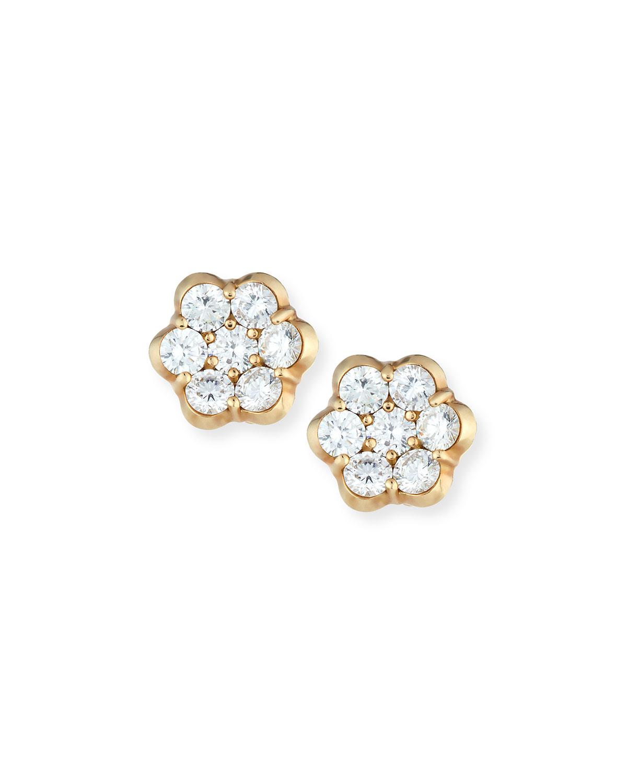 Bayco Platinum & Ruby Floral Stud Earrings EfpDG3aFx