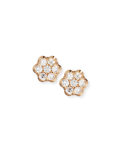 18K Rose Gold & Diamond Floral Stud Earrings
