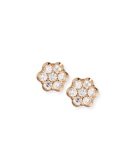 18K Rose Gold & Diamond Floral Stud Earrings