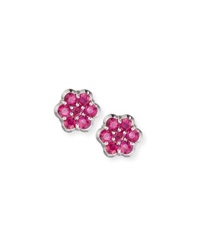 Platinum & Ruby Floral Stud Earrings