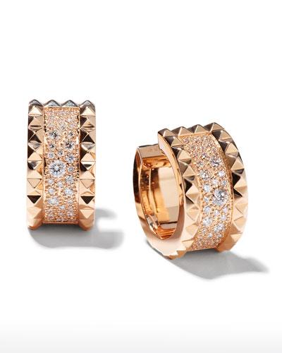 ROBERTO COIN ROCK & DIAMONDS 18K Rose Gold Huggie Earrings with Diamonds