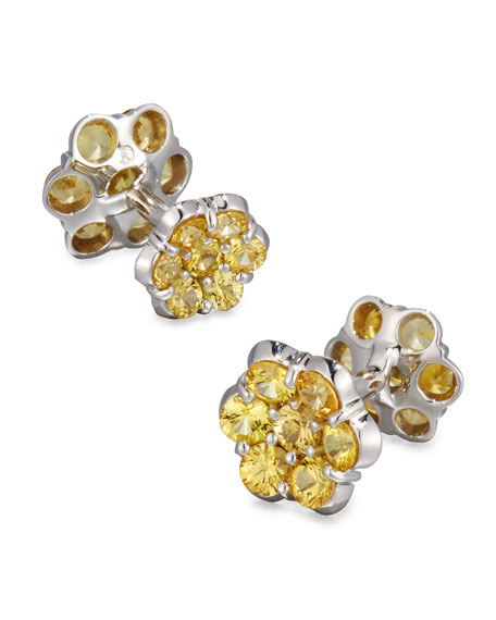 Bayco Platinum & Yellow Sapphire Floral Cuff Links