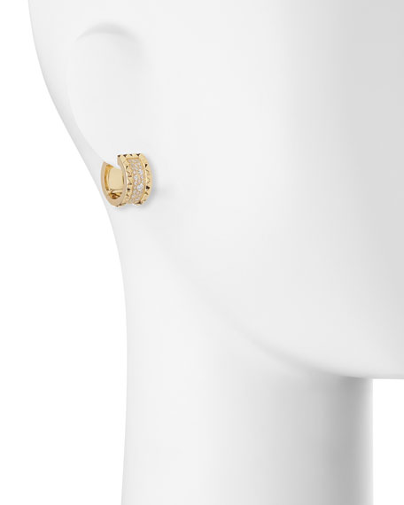 ROBERTO COIN ROCK & DIAMONDS 18K Gold Huggie Earrings with Diamonds