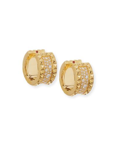 ROBERTO COIN ROCK & DIAMONDS 18K Gold Huggie Earrings with Diamonds