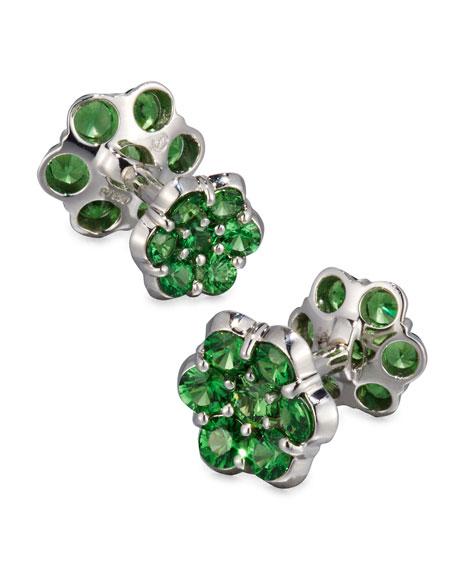 Platinum & Tsavorite Floral Cuff Links
