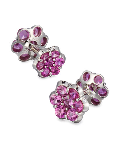 Platinum & Pink Sapphire Floral Cuff Links