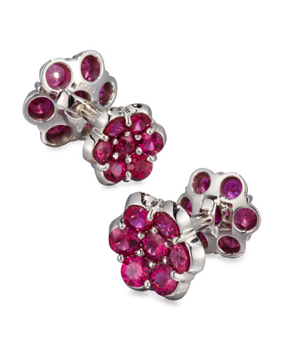 Platinum & Ruby Floral Cuff Links