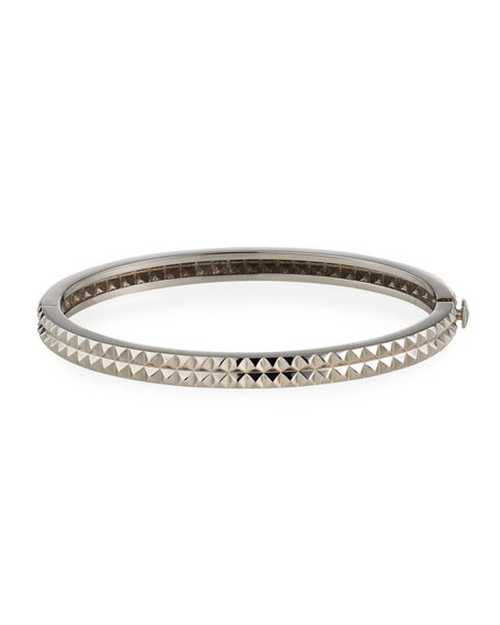 Roberto Coin 18K White Gold Pyramid Rock & Diamonds Bangle