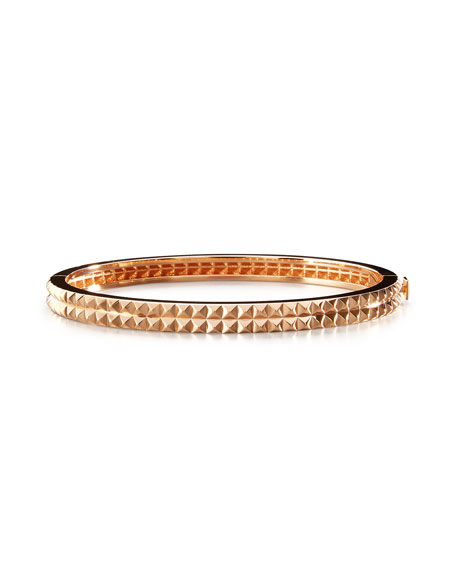 18K Rose Gold Pyramid Rock & Diamonds Bangle