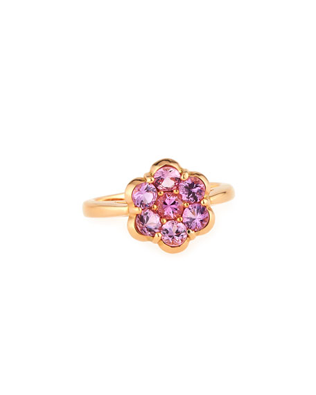 18 K Rose Gold & Pink Sapphire Flower Ring