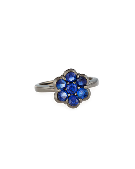 18K Black Gold & Blue Sapphire Flower Ring