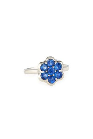 Bayco Platinum & Blue Sapphire Flower Ring, Size 6