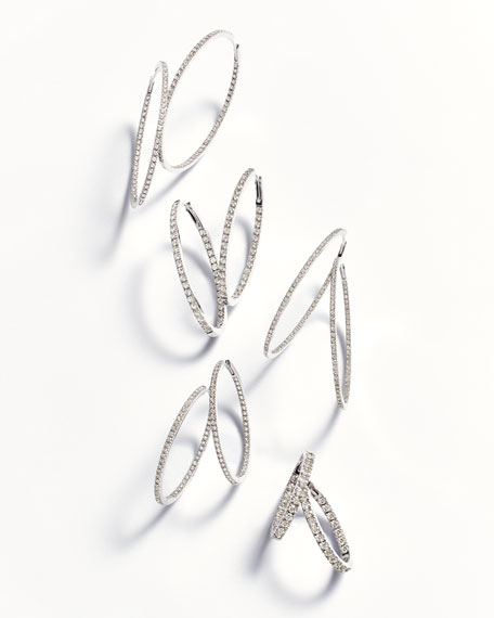 18K White Gold & Diamond Infinity Hoop Earrings, 2.58 tdcw