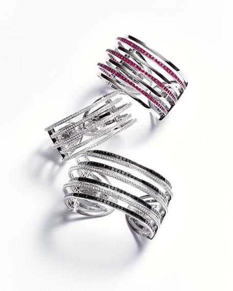 18K White Gold & Diamond Five-Row Cuff Bracelet