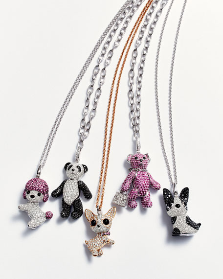 Wang Wang Toy Poodle Dog Pendant Necklace with White Diamonds