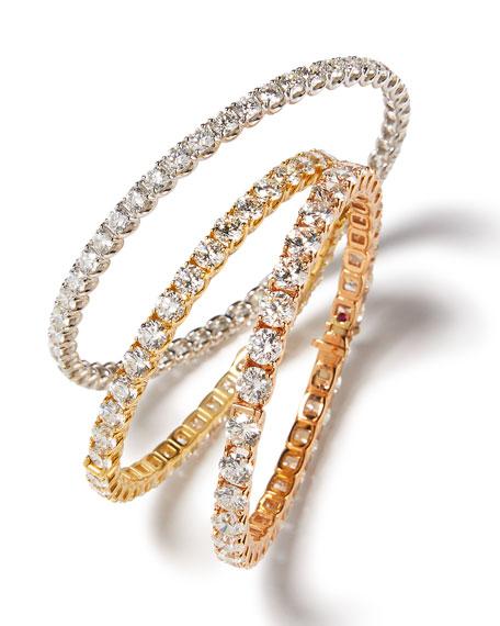 18K Yellow Gold Diamond Eternity Bangle, 16.24 TCW