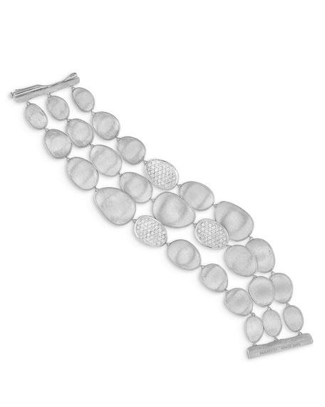 Lunaria Diamond Multi-Row Bracelet in 18K White Gold