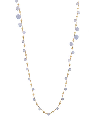 Paradise Chalcedony Long Necklace in 18K Yellow Gold, 36