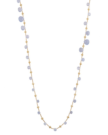 Paradise Chalcedony Long Necklace in 18K Yellow Gold, 36""