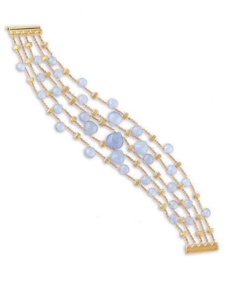Paradise Chalcedony Multi-Row Bracelet in 18K Yellow Gold