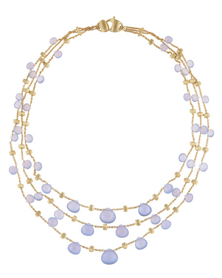 Paradise Chalcedony Multi-Row Necklace in 18K Yellow Gold