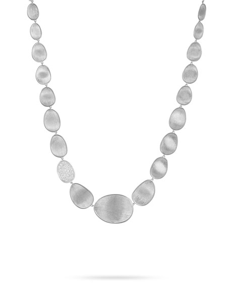 Lunaria Collar Diamond Necklace in 18K White Gold